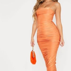 PrettyLittleThing Dresses - Orange strappy slinky ruched back maxi dress